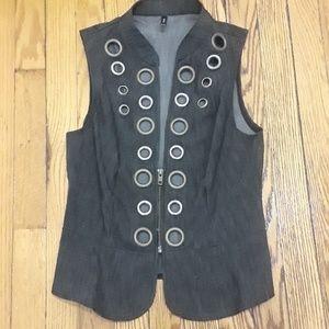Jackets & Blazers - Dark gray black denim vest with grommets NWOT